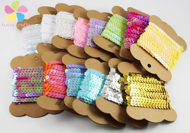 Online Shop 6mm Multi colors option plastic sequin ribbon home Decoration  (with card) Packaging cardboard is random 10y lot 040005006  f8a93cce5e14