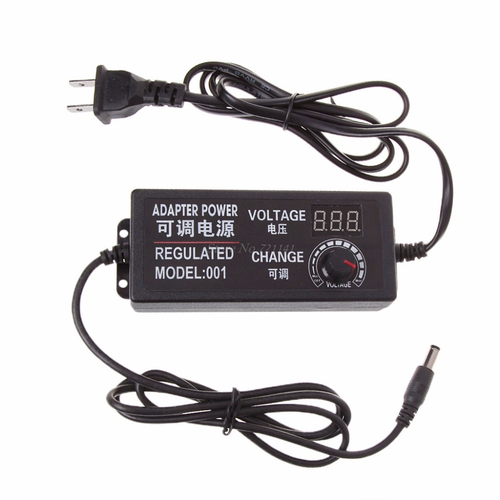 9-24V 72W Adjustable AC/DC Regulated Switch Power Supply Adapter With Display Electronics Stocks