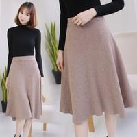 High Quality Midi Skirts Autumn Winter Casual Women Clothing High Waist Pleated A Line Knee Length Elegant Long Skirts C 037