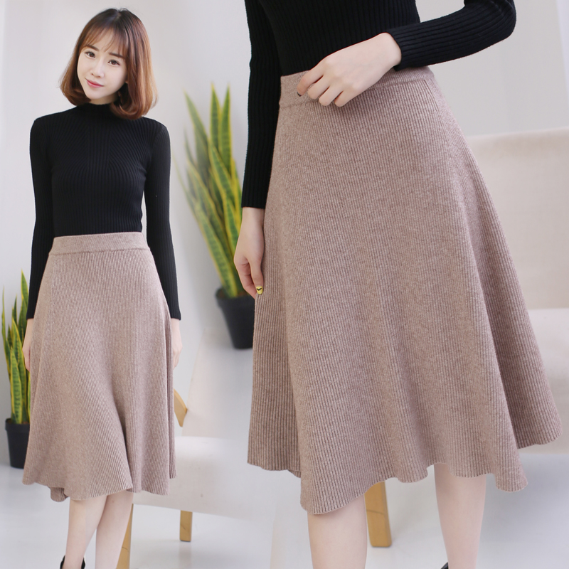 High Quality Midi Skirts Autumn Winter Casual Women Clothing High Waist Pleated A Line Knee Length Elegant Long Skirts C-037