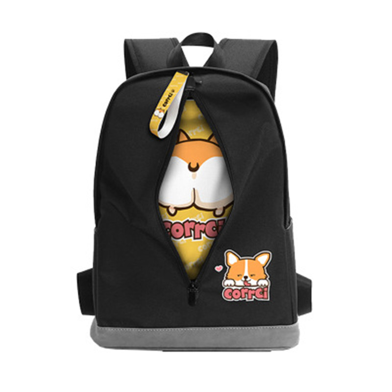New Cartoon Anime Corgi Dog Dangan Ronpa Hamster Bear Skull Emoji Bag Backpack Rucksack Student Girl School Bag