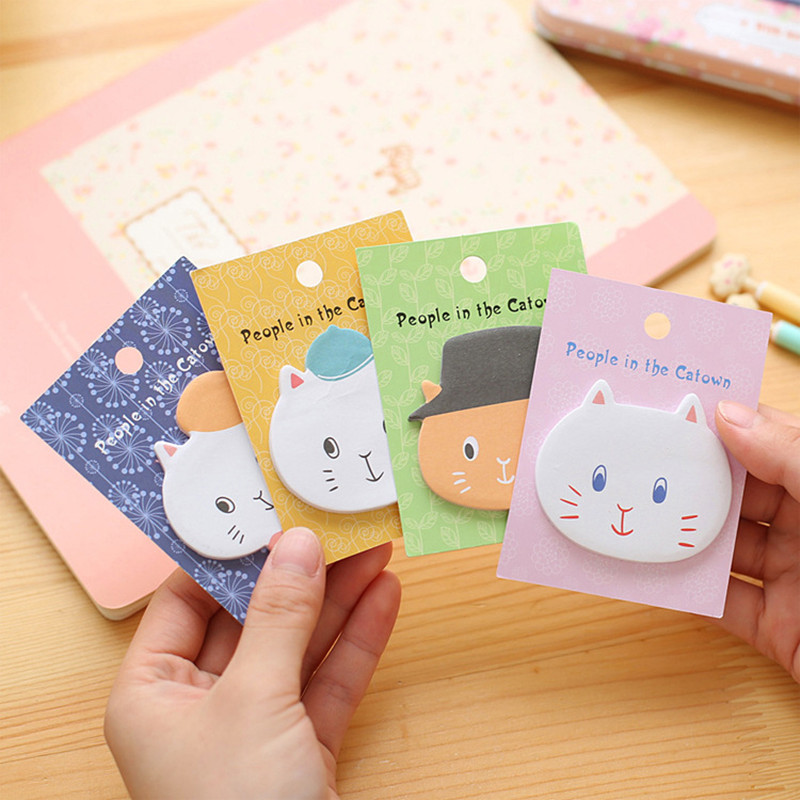 Cute Cartoon Cat Self-adhesive Memo Pad Sticky Notes Post It Bookmark School Office Supply  Stationery for office supplies stude