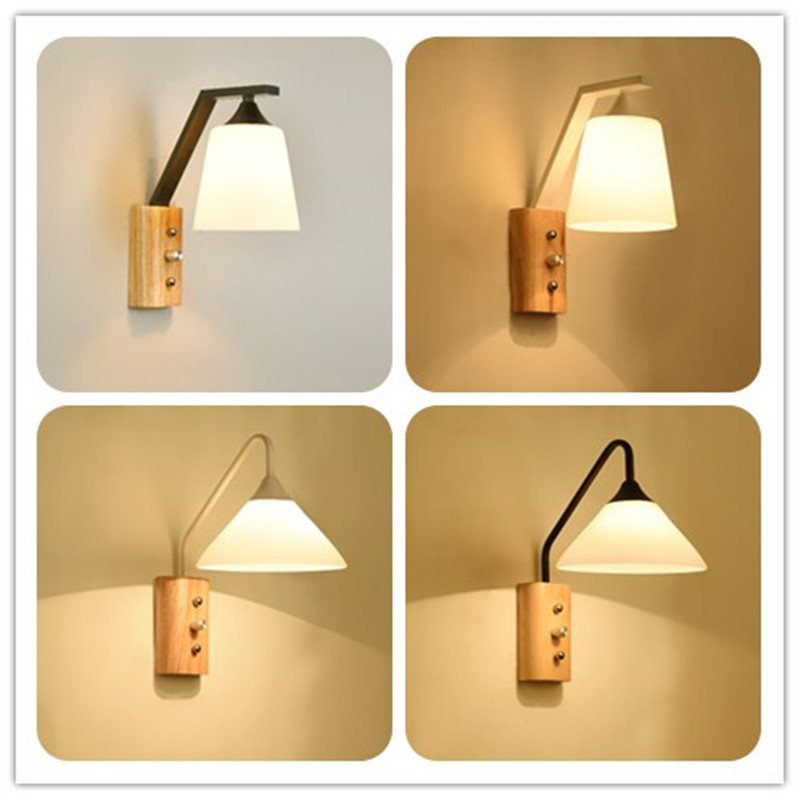 Bedroom bedside wall lamp living room balcony aisle Wooden wall sconce Modern creative Iron wall light Bathroom led mirror light modern simple led wall lamp bathroom mirror lamps reading light living room bedroom aisle wall lights free shipping