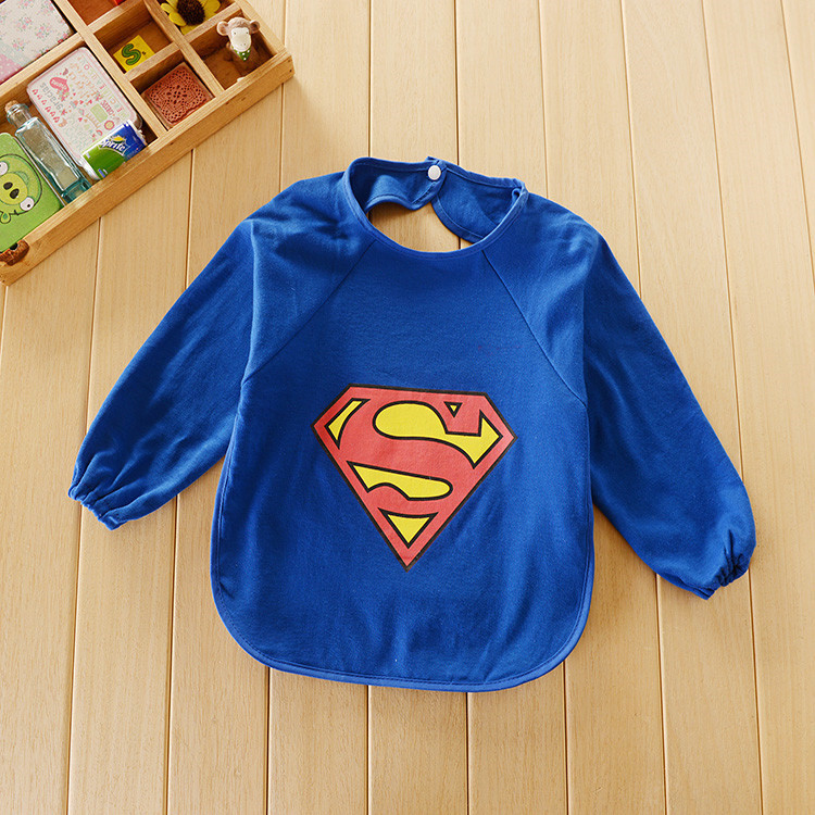 Hot slae fashion waterproof long sleeve baby slabbers kawaii Super hero baberos high quality boy and girl overall