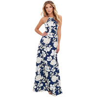 S XXXXXL Summer Floral Print Beach Maxi Dress Women Sexy Off Shoulder Boho Long Dress Plus
