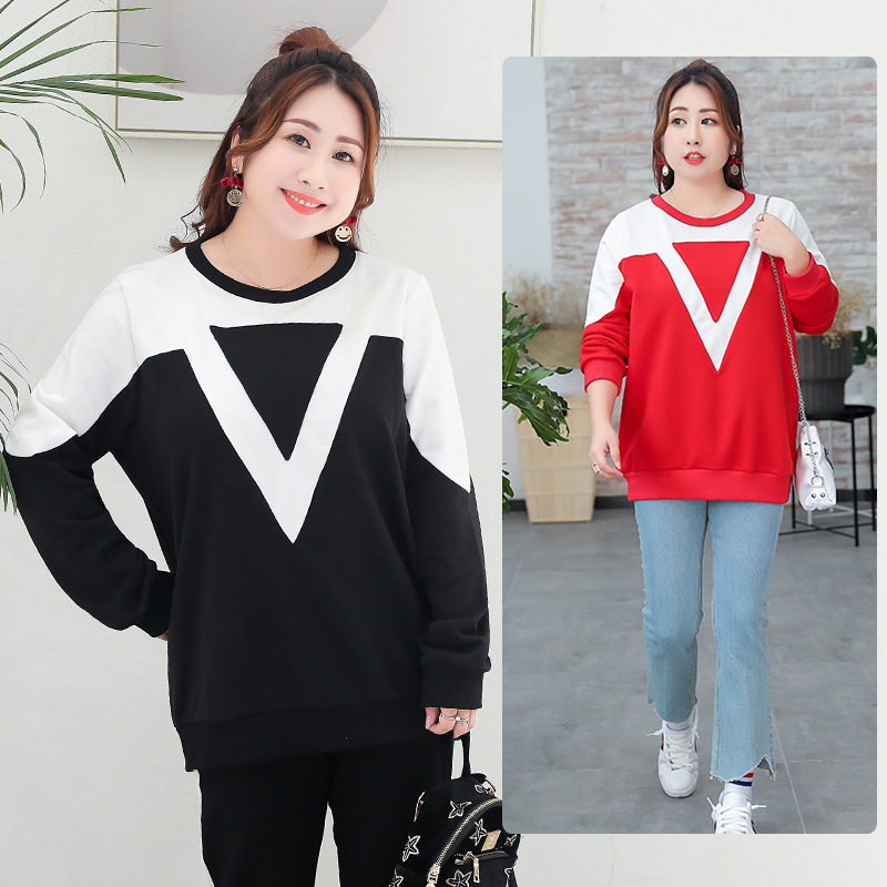 2018 autumn new large size womens casual wear, big size, loose, blouse.