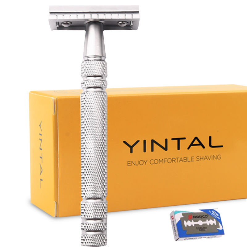 Men Shaving Blade Replaceable Classic Safety Razor Manual Shaver Matte Nonslip Blank Brass Double Edge Razor razors for shaving men double edge razor bright brass blade replaceable chrome manual classic safety razor