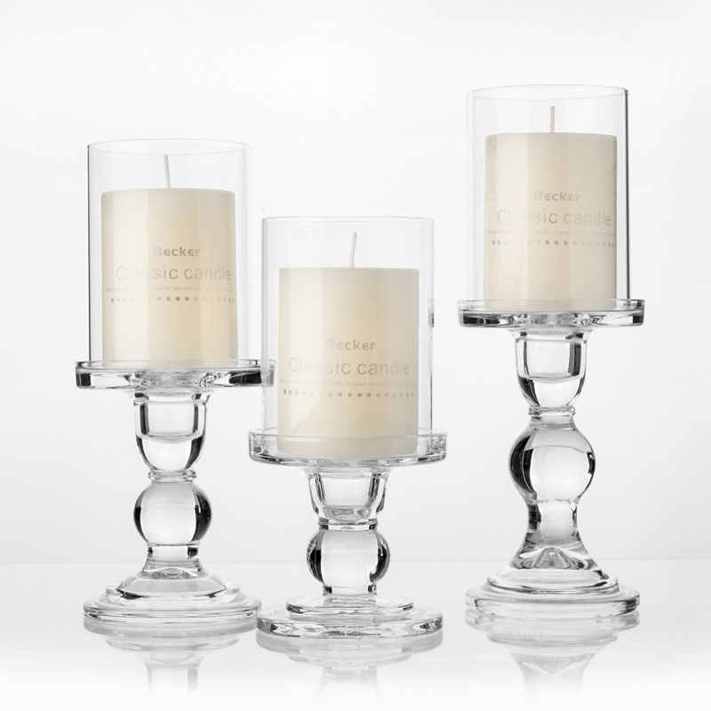 "1pc 3.46 / 4.52 / 5.51 in Glass Candle Holders for 3"" Pillar Candle and 3/4"" Taper Candle, Wedding decoration, Candlestick Set"