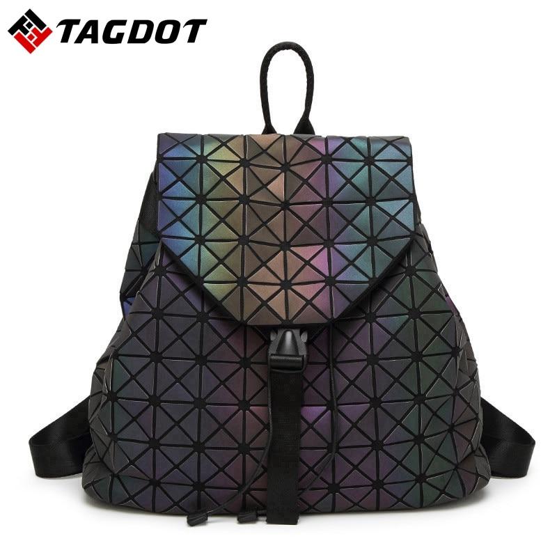 New Luminous Women Backpacks Japan Style Geometric Student's School Book Bag Hologram Backpack Laser Bao Female With LOGO
