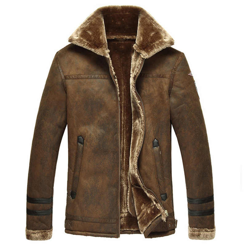 Thick Warm Winter Mens Faux Fur Leather Jacket Overcoats 2018 Plus Size 3XL European Style Vintage Mens Winter Fur Coats C1224