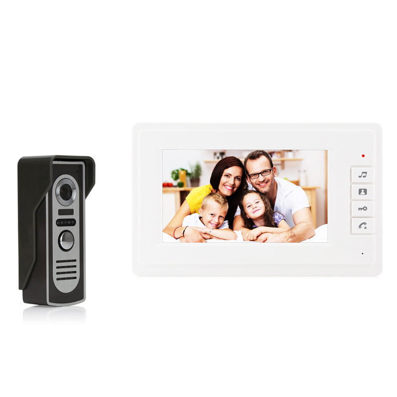 JEX Home Door bell 7 inch LCD Display Video Door phone Doorbell Intercom System Kit Clear Monitor + Color COMS Camera In Stock jex 10 inch lcd video intercom doorphone doorbell speaker intercom system kit 4 monitor 700tvl ir camera 1v4 in stock