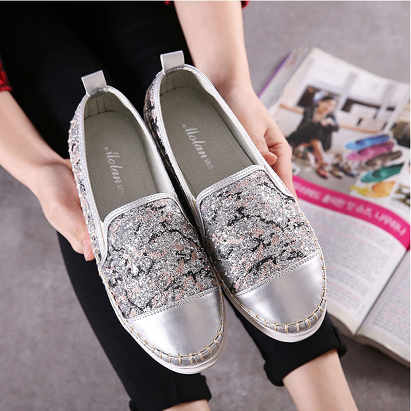 NEW 2016 Spring Fall Glitter Style Brand font b Women b font Snakes Loafers Flats Shoes