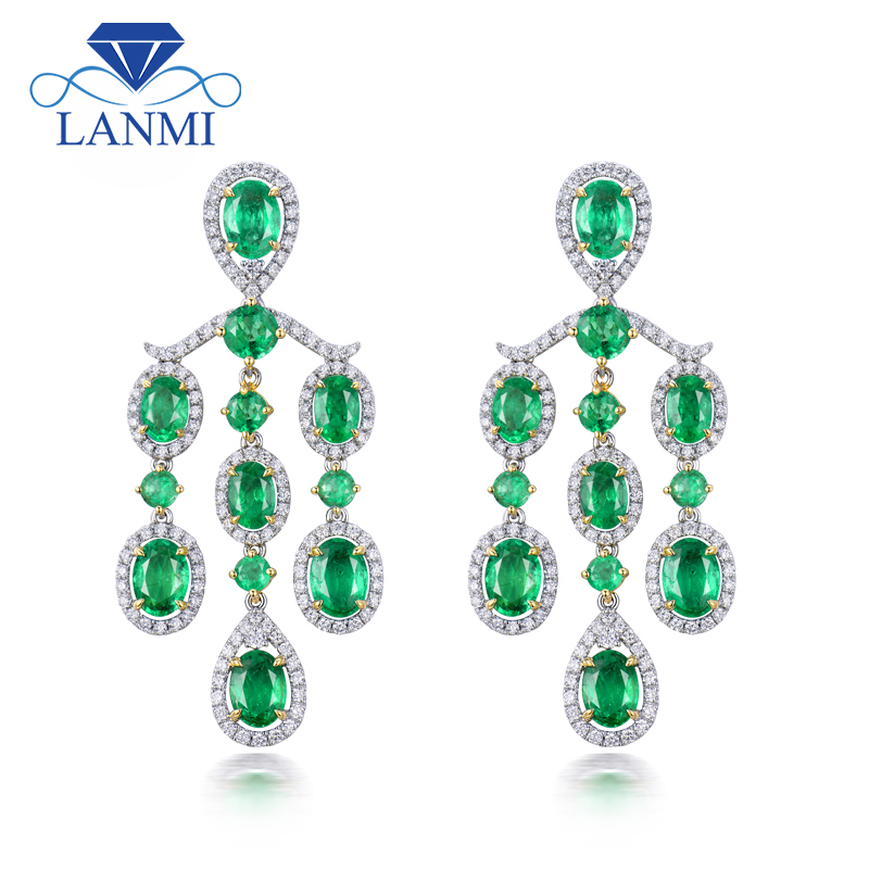 LANMI Solid 18Kt Au750 Two Tone Gold Luxury Design Green Emerald Wedding Earring Sparkly Diamond Jewelry for Women Party