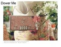 Dower Me Korea Fashion Elegant Pearl Pink Flower Flip Wallet Women Handbag Leather Case Cover For Iphone X 8 7 6 6S Plus 5 SE 5S