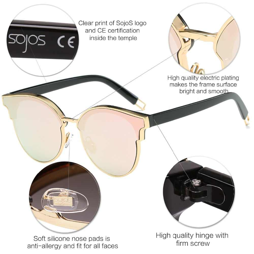 2184258a0 ... Sunglasses Woman Fashion CatEye Round Mirrored Flat Lenses Metal Frame  Oversized Party Summer Glasses Oculos De ...