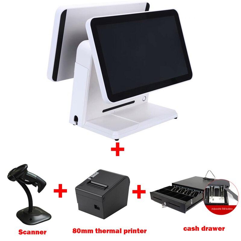 Livraison gratuite POS machine 15 pouces double écran tactile tout en un machine de paiement avec imprimante thermique 80mm + tiroir-caisse + scanner
