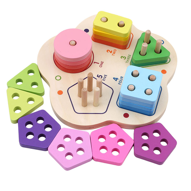 Children New Wooden Toy Geometric Colorful Cognition Digital Set Columns Early Education Toys