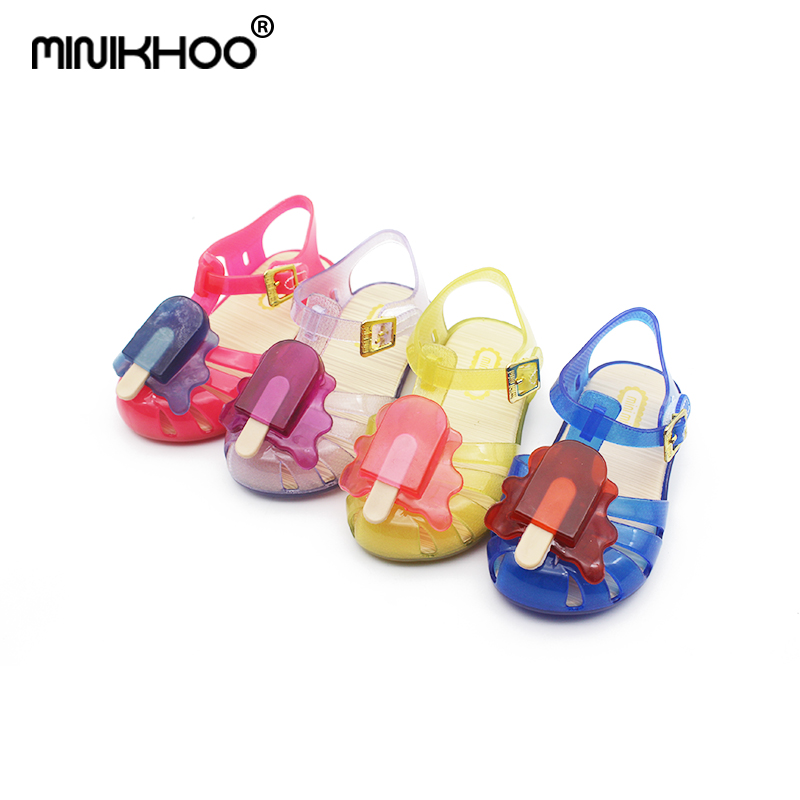 Mini Melissa New 4Color Popsicle Jelly Children Shoes Shoes Popsicle Ice Cream Baby Sandals Cute Melissa Girls Jelly Sandals