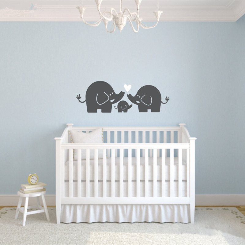 2017 New Fashion Elephant Family Wall Decal Nursery Sticker Baby Boy Or Bedroom Art Home Decoration Diy In Stickers From