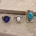 New vintage accessories jewelry silver plated turquoise opal finger ring set for women girl nice gift R1518