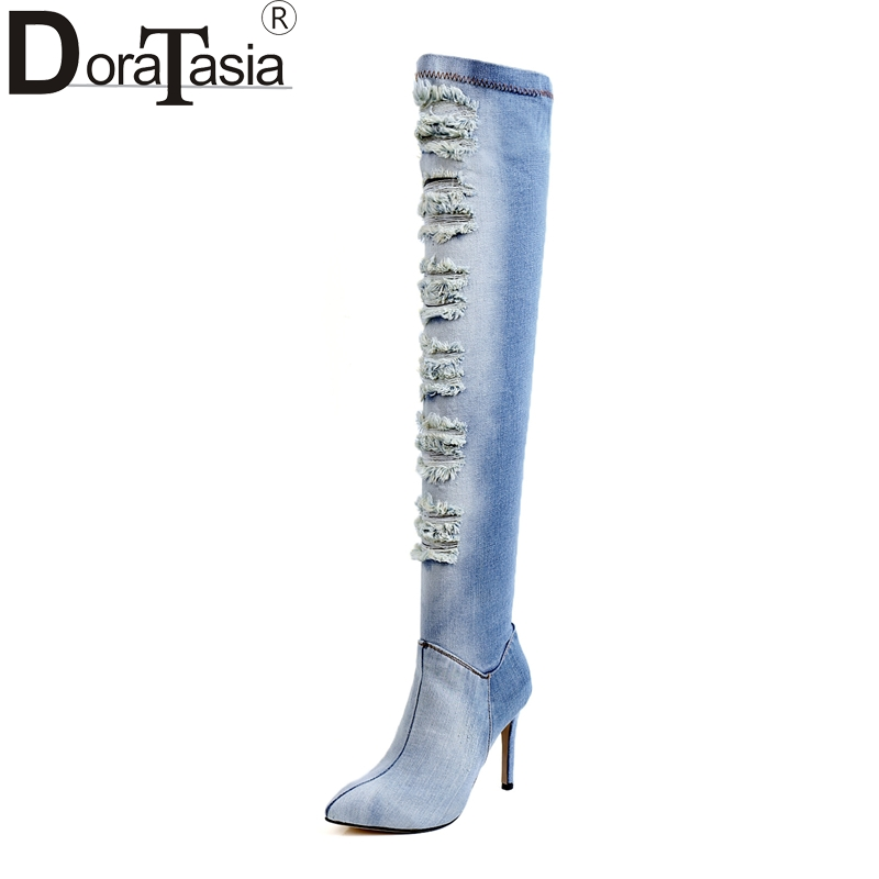 DoraTasia 2017 sexy denim upper women shoes woman fashion thin high heels pointed toe over the knee boots winter autumn shoes hot fashion spring over the knee boots sweet buckle denim women boots sexy pointed toe thin high heels shoes woman zapatos mujer