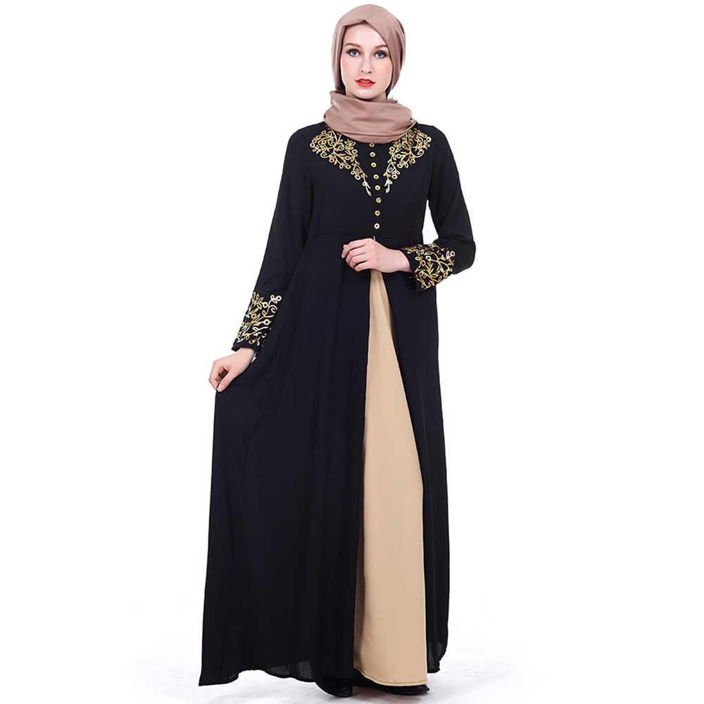 f52d261fe9c ... Abaya Dubai Muslim Dress Black Solid Gold Stamping Printing Robe Kaftan  Evening Long Sleeve Cardigan Jubah ...