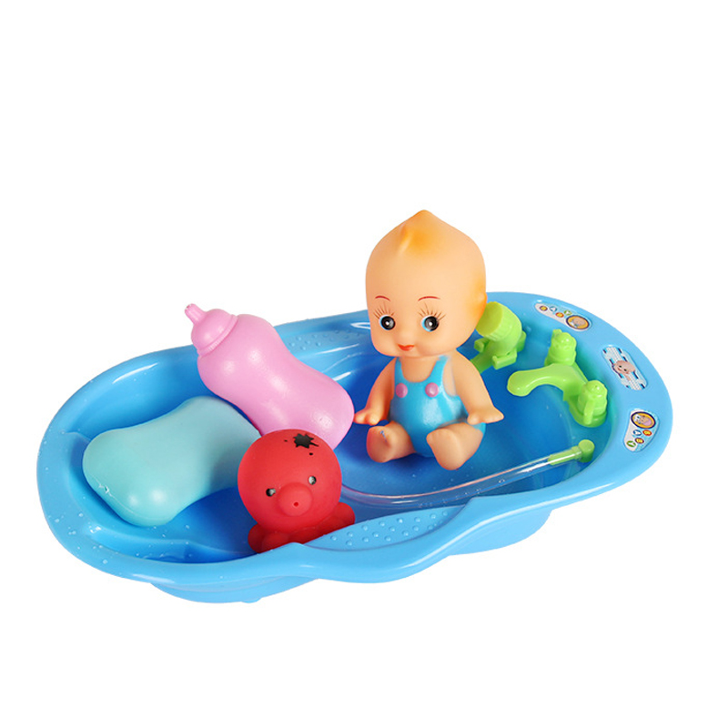 HUAILE Cute Bathroom Water Playing Toy sets Bathtub Doll House Playing Ball Toy for Baby