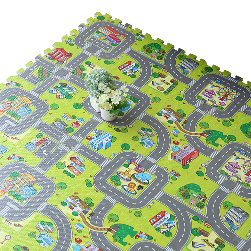 Kids Car City Scene Rug Puzzle Play Mat Educational Toys Children Developing Mat Baby Gym Road Carpet To The Nursery Kids Rug dinosaur world jurassic park scene play mat kids