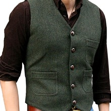 Men's Suit Formal V Neck Wool Herringbone Tweed Casual Waistcoat Formal Business