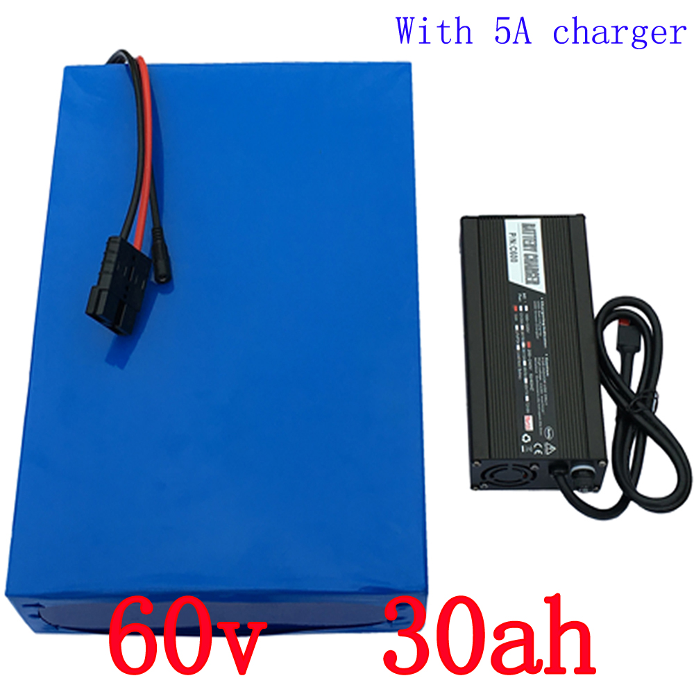 High Capacity 30Ah 60V E-Bike Battery With 5A Charger For 2000W Motor Power Lithium Electric Bicycle Battery 60V Free Shipping 73v 5a 20s lifepo4 battery charger 60v 5a charger for lifepo4 battery