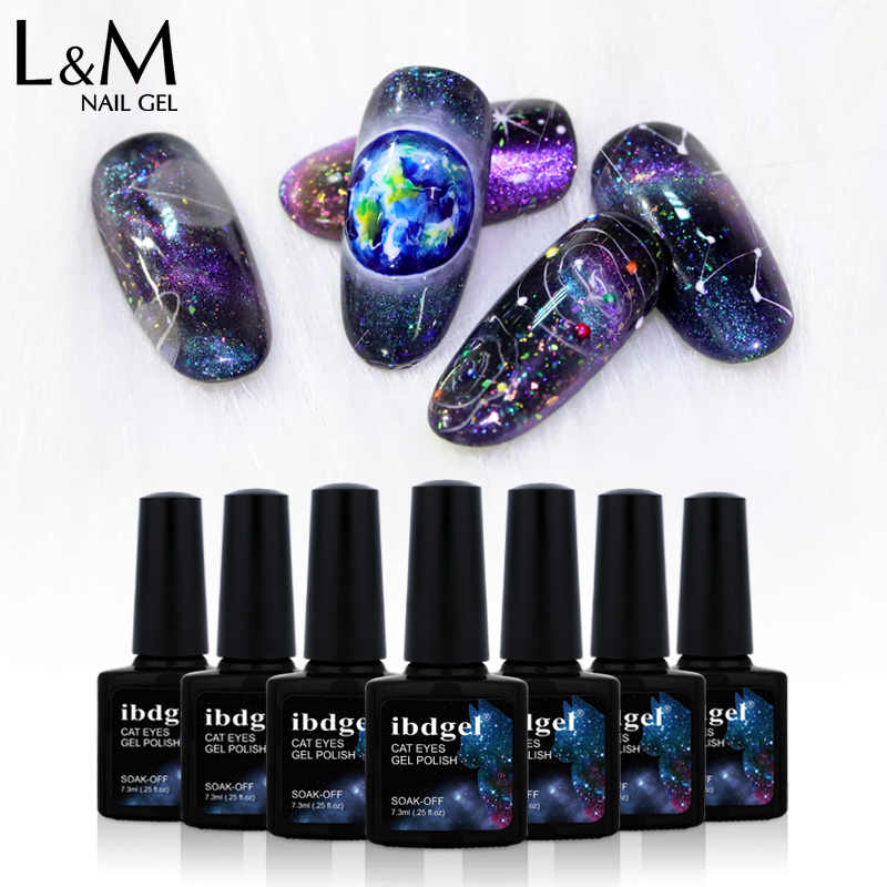 Ibdgel Baru Galaxy Kuku Gel Polandia DIY Glitter Kuku Seni Sinar UV LED Galaxy Efek Kucing Mata Gel Lacquer 6 warna