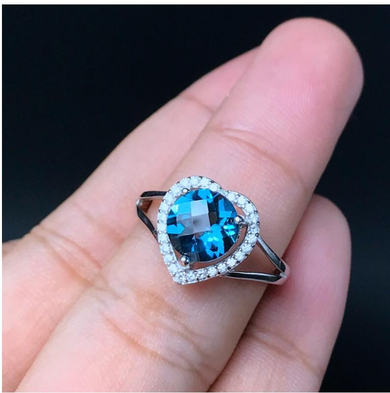 Love Heart Wedding Topaz Ring gem Finger ring Natural real blue topaz 925 sterling silver ring Wholesales For men or women 8*8mmLove Heart Wedding Topaz Ring gem Finger ring Natural real blue topaz 925 sterling silver ring Wholesales For men or women 8*8mm