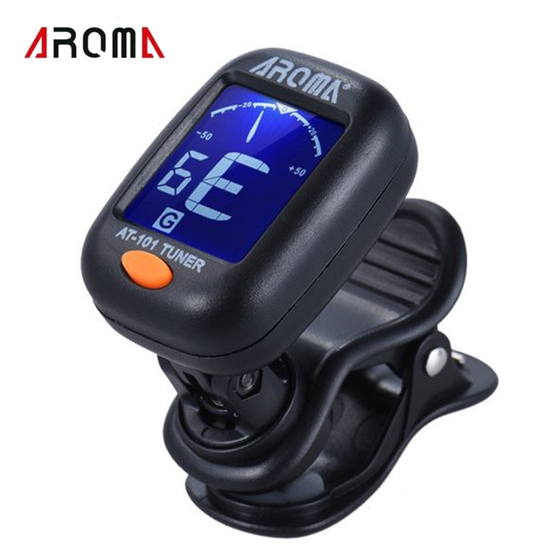 AROMA AT-101 Portable Small Clip-on Digital Tuner with Foldable Rotating Clip For Chromatic Guitar Bass Ukulele Accessories portable clip on guitar tuner capo 2 in 1 for guitar bass chromatic multifunction universal aroma ac 05