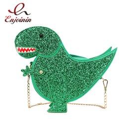 Мода личности динозавра Дизайн Мода Pu кожа Crossbody мини сумка Для женщин цепи кошелек женский сумка Flap
