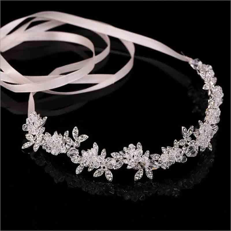 Neue Ankunft Edle Kristall Strass Braut Kopfschmuck Satin Band Hochzeit Haar Zubehör für Bräute Diademe Kronen Stirnbänder