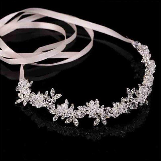 New Arrival Noble Crystal Rhinestone Bridal Headpieces Satin Ribbon Wedding Hair