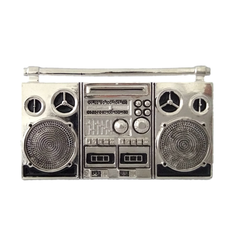 Plating Silver color Cassette Tape Recorder Nostalgia metal belt buckle Punk vintage Mens Big buckle for belts accessories ...