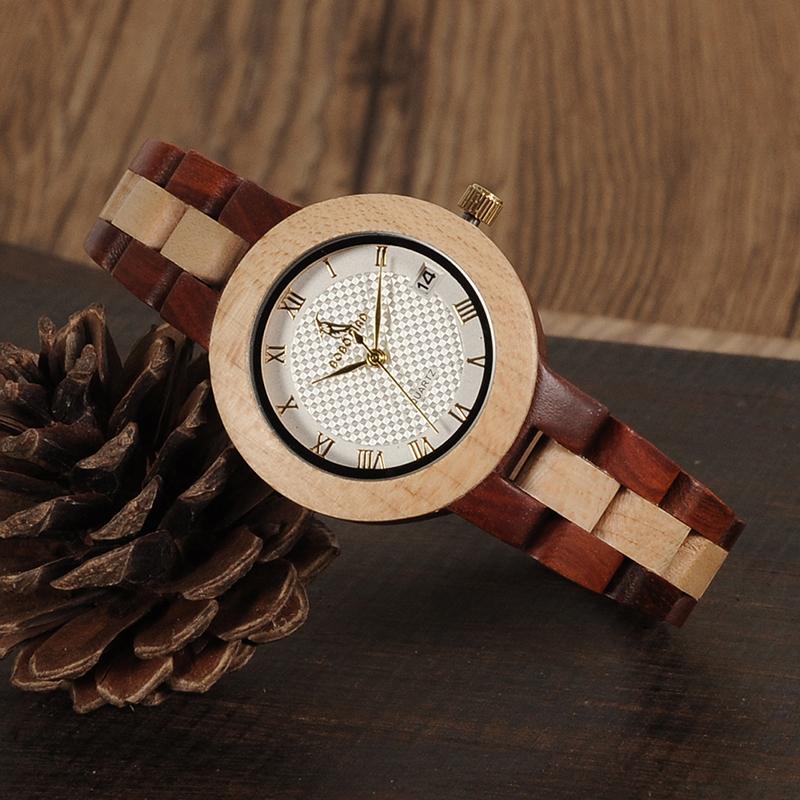 BOBO BIRD Rose SandalWood Elegant Minimal Wooden Watch For Women 9