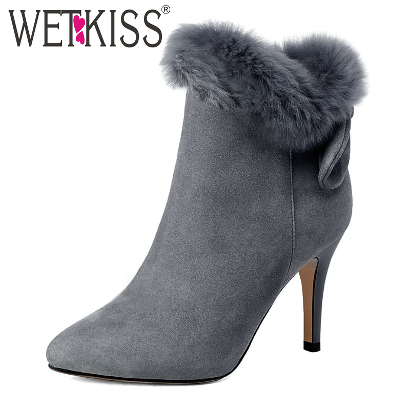 High Quality Elegant Fur Charm Genuine Leather Ankle Boots Pointed Toe Add Fur Sexy Thin High Heels Fall Winter Shoes Woman