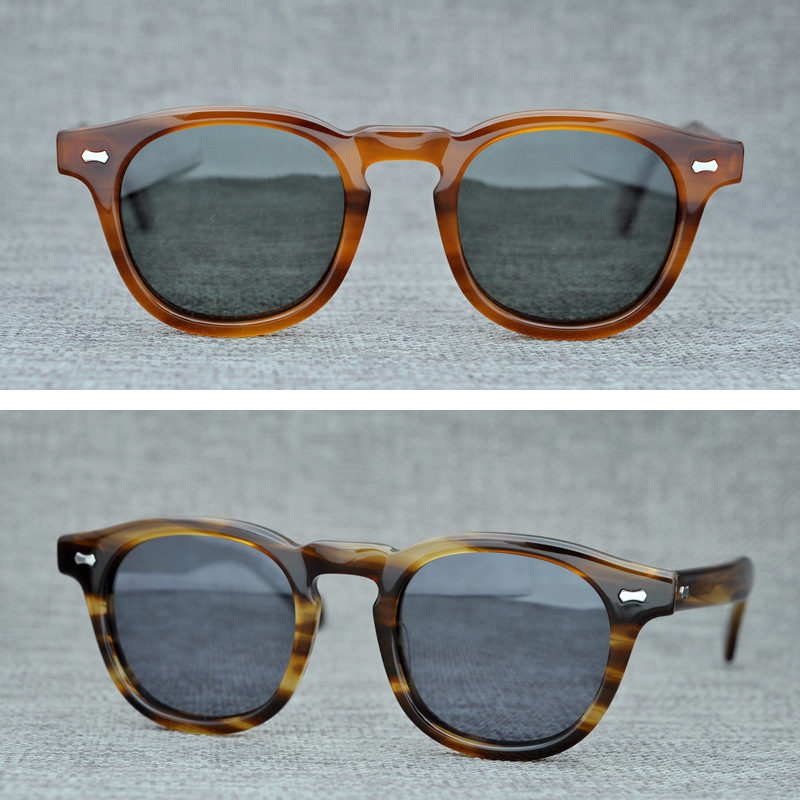Herren-brillen Sonnenbrillen Liberal Cubojue Polarisierte Herren Sonnenbrille Johnny Depp Acetat Gläser Mann Tac Anti Reflektierende Uv400 Schildkröte Dicken Rahmen Marke Design Reine WeißE