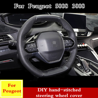 For Peugeot 5008 3008 2017 2018 2019 soft Leather braid DIY PU hand stitched steering wheel cover Interior accessories Modified