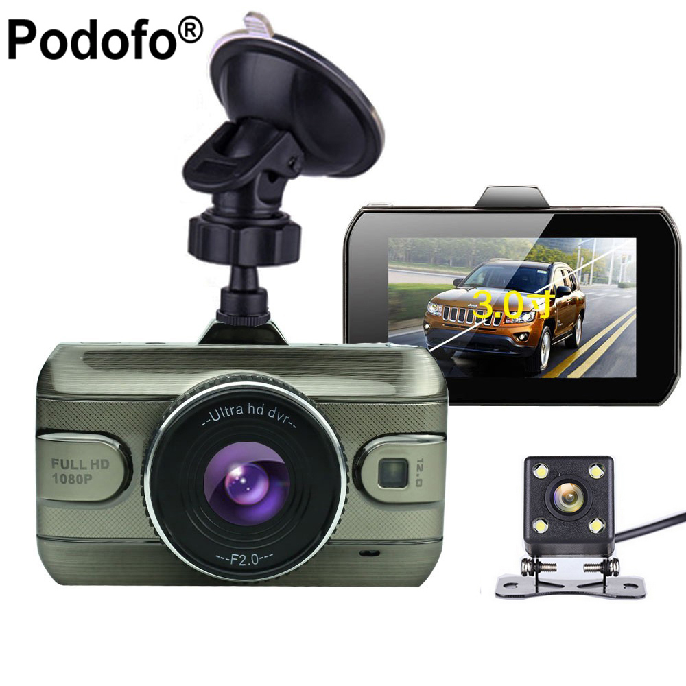 Shenzhen Camecho Technology Co., LTD Podofo Dual Lens Car DVR Cam Dashcam 1080P Full HD Video Registrator Recorder Backup Rearview Camera G-Sensor Night Vision Dvrs
