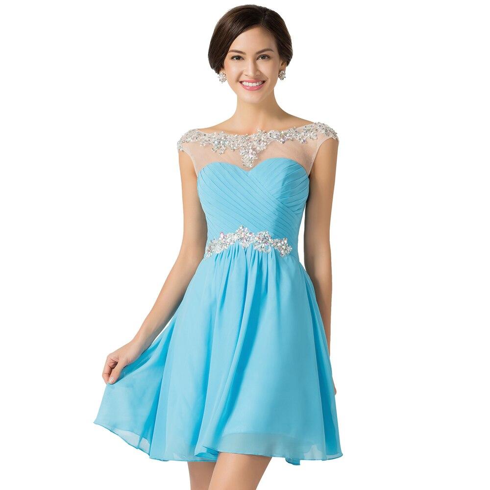 Blue Purple Chiffon Short Prom Dresses 2016 Grace Karin Cap Sleeve ...