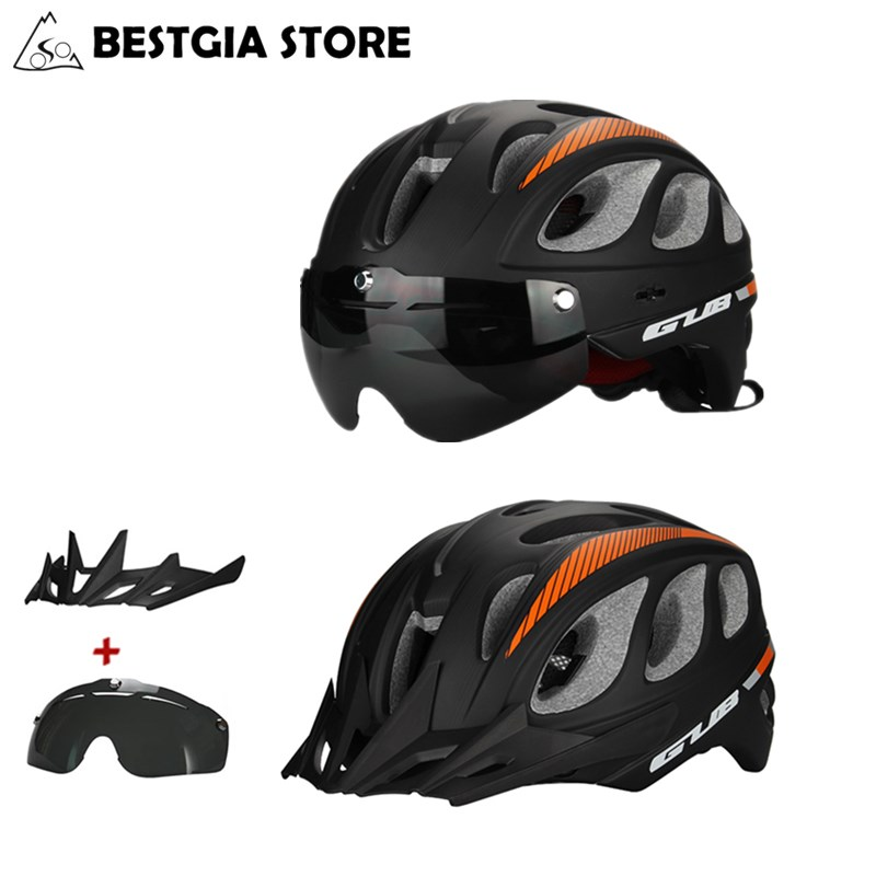Top Magnetic Goggles Cycling Helmet Ultralight Bicycle Helmet With Lens & Sunvisor Casco Ciclismo MTB Bike Helmet 57-61 CM 85g/L mtb bicycle helmet safety adult mountain road bike helmets casco ciclismo man women cycling helmet 1x helmet and 1xgoggles