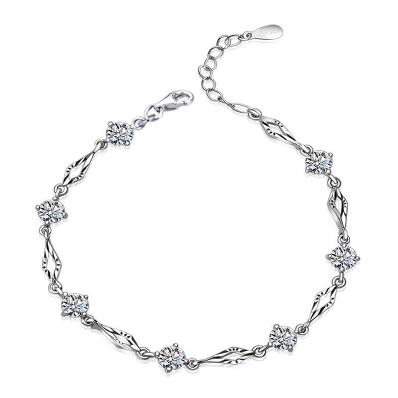 New Brand 925 Sterling Silver CZ Bracelets female senior jewelry ...