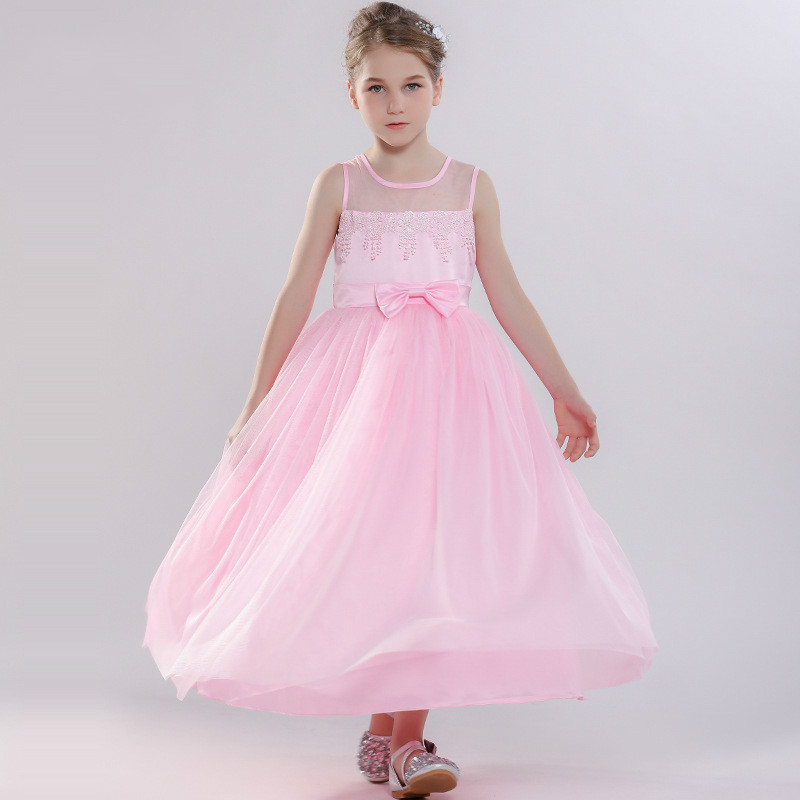 Girls 3-12 Y Spring Summer O-neck Sleeveless Floral Appliques Dress Fashion Bow Pink Ball Gown Princess Costume Shows DressesGirls 3-12 Y Spring Summer O-neck Sleeveless Floral Appliques Dress Fashion Bow Pink Ball Gown Princess Costume Shows Dresses