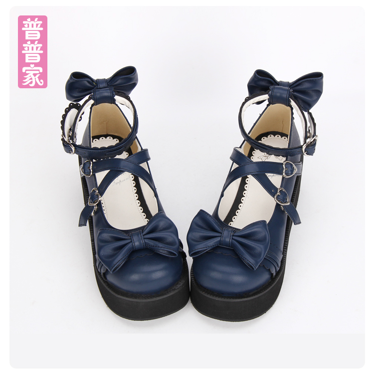 Princess sweet lolita shoes Round head shallow shoes bow tie lace muffin Princess sweet soft sister shoes lady fashion pu8018 кеды sweet shoes