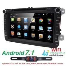 2 din Android 7.1 car multimedia player fit volkswagen vw skoda yeti golf polo passat b6 jetta touran gps radio SWC DAB WIFI 4G