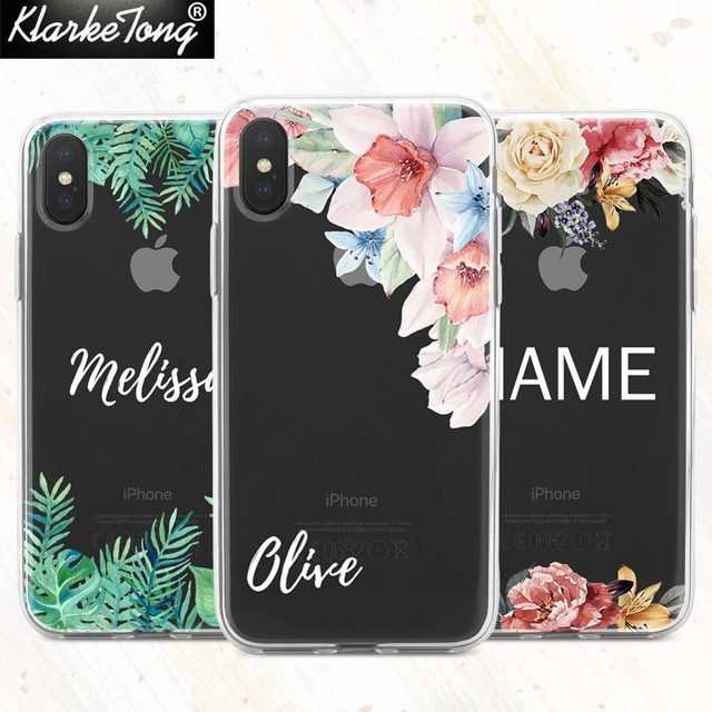 pretty nice 874f0 001d8 US $5.3 |KlarkeTong Watercolor Flower Name Custom Phone Case For iPhone XS  MAX XR 8 7 6 Plus 5s Soft Clear Summer Pattern Silicone Cover-in Fitted ...