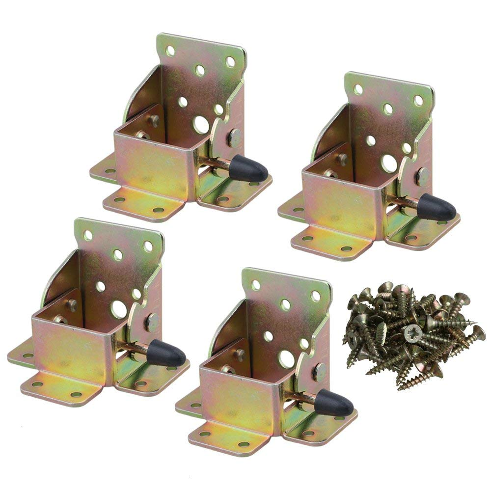 Image 4 - Iron 75x60x55mm Extension Table Bed Feet Foldable Support Bracket Soft Table Leg Folding Support Screw Type Set of 4-in Furniture Frames from Furniture